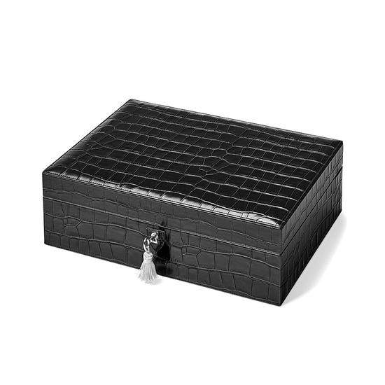 Grand Luxe Jewellery Case in Deep Shine Black Croc & Pink Suede from Aspinal of London