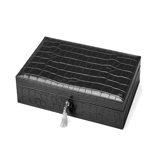 Savoy Jewellery Box in Deep Shine Black Croc & Pink Suede from Aspinal of London