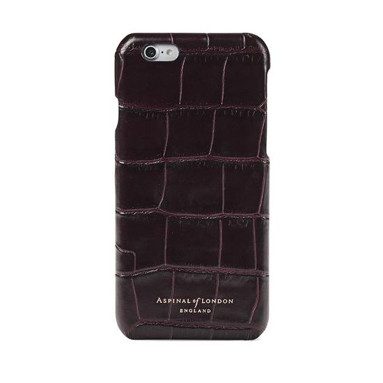 iPhone 6 Leather Cover in Deep Shine Amazon Brown Croc & Black Suede from Aspinal of London