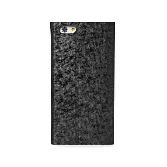 iPhone 6 Leather Book Case in Black Saffiano & Black Suede from Aspinal of London