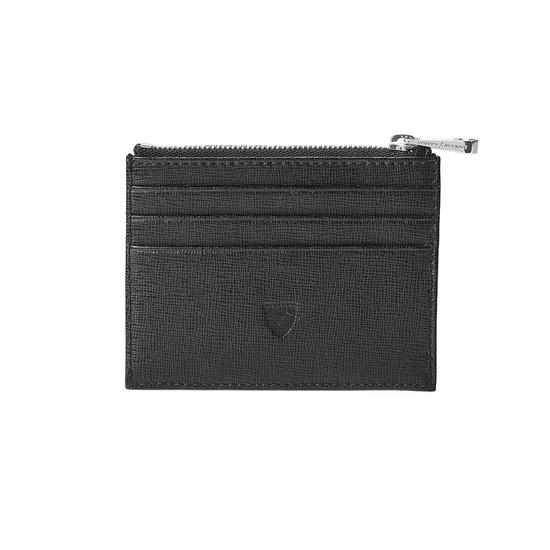 Zip Top Coin & Card Case in Black Saffiano & Black Suede from Aspinal of London