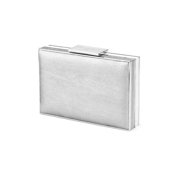 Scarlett Box Clutch in Silver Saffiano & Smooth Alabaster White from Aspinal of London