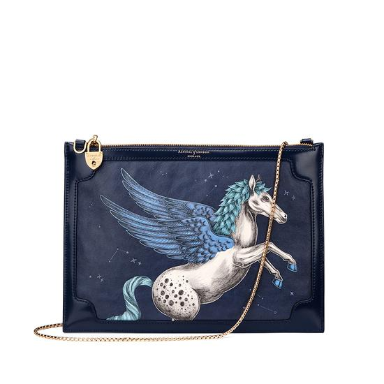 Soho Double Sided Clutch in Pegasus Blue Moon Print from Aspinal of London