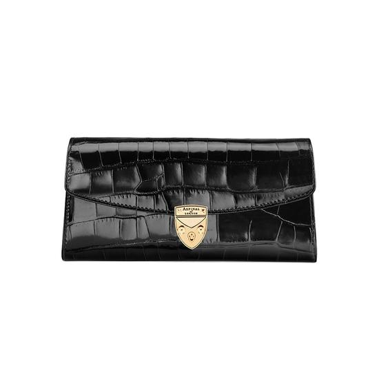 Mini Eaton Clutch in Deep Shine Black Croc from Aspinal of London