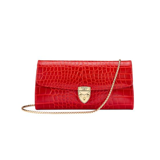 Mini Eaton Clutch in Deep Shine Red Croc from Aspinal of London