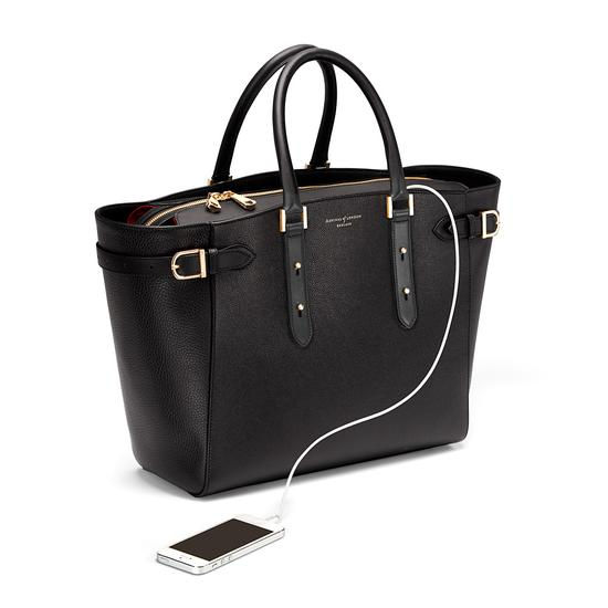 Large Marylebone Tech Tote in Black Pebble with Gold Hardware from Aspinal of London