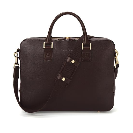 Large Mount Street Bag in Brown Saffiano from Aspinal of London