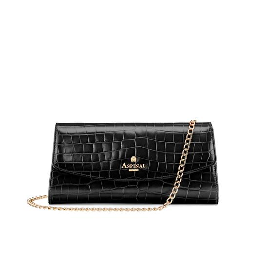 Eaton Clutch in Deep Shine Black Croc from Aspinal of London