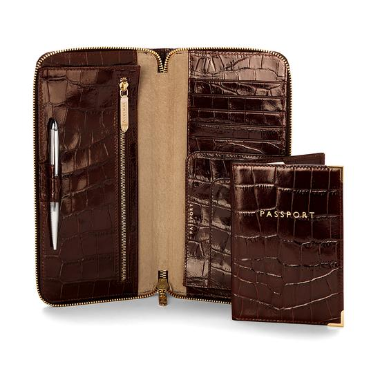 Zipped Travel Wallet with Passport Cover in Deep Shine Amazon Brown Croc & Stone Suede from Aspinal of London