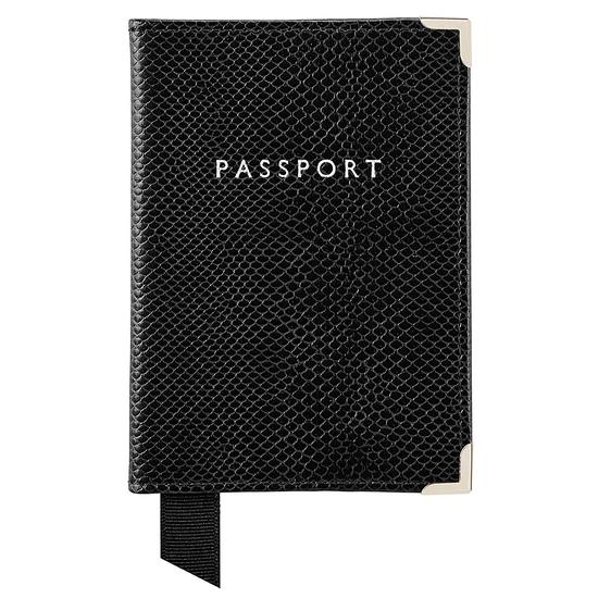 Passport Cover in Jet Black Lizard & Red Suede from Aspinal of London