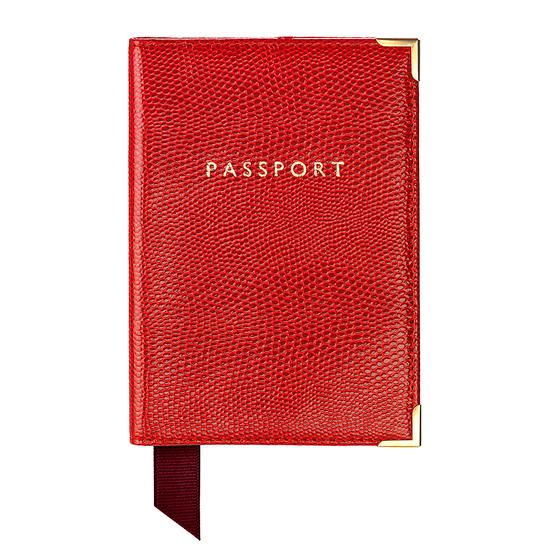 Passport Cover in Berry Lizard & Cream Suede from Aspinal of London