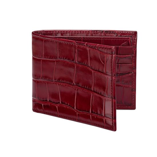 Billfold Wallet in Deep Shine Bordeaux Croc & Navy Suede from Aspinal of London
