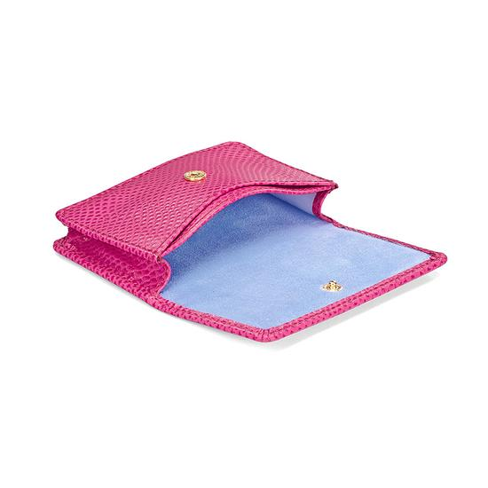 Business & Credit Card Case in Raspberry Lizard & Pale Blue Suede from Aspinal of London