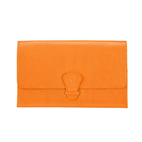 Classic Travel Wallet in Orange Lizard & Cream Suede from Aspinal of London