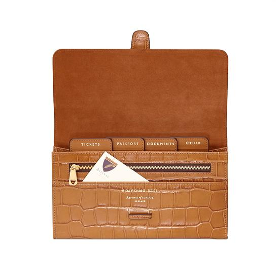 Classic Travel Wallet in Deep Shine Vintage Tan Croc & Cappuccino Suede from Aspinal of London