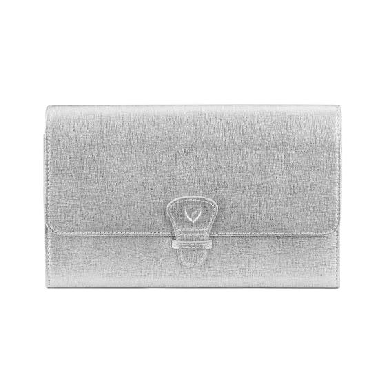 Classic Travel Wallet in Silver Saffiano from Aspinal of London