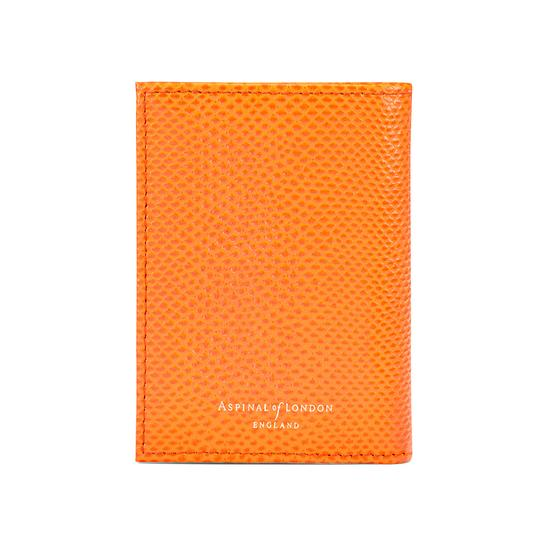 Double Credit Card Case with Back Pocket in Orange Lizard & Cream Suede from Aspinal of London