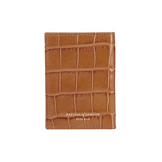 Double Credit Card Case with Back Pocket in Deep Shine Vintage Tan Croc & Cappuccino Suede from Aspinal of London