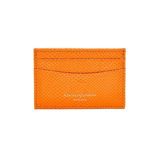 Slim Credit Card Case in Orange Lizard & Cream Suede from Aspinal of London