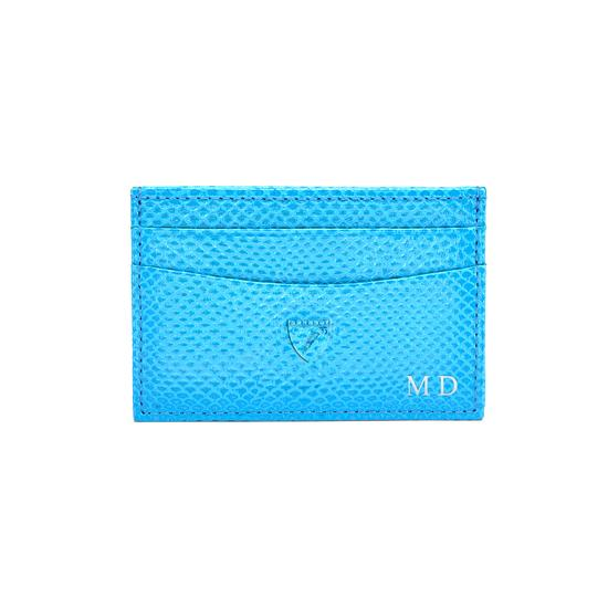 Slim Credit Card Case in Aquamarine Lizard & Silver Suede from Aspinal of London