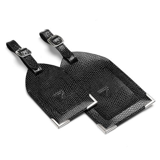 Set of 2 Luggage Tags in Jet Black Lizard from Aspinal of London