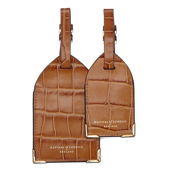 Set of 2 Luggage Tags in Deep Shine Vintage Tan Croc from Aspinal of London