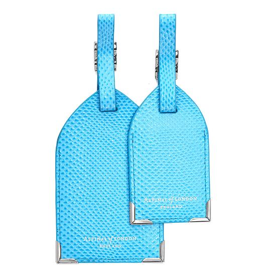 Set of 2 Luggage Tags in Aquamarine Lizard from Aspinal of London