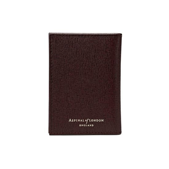 Double Fold Credit Card Case in Chocolate Brown Saffiano from Aspinal of London