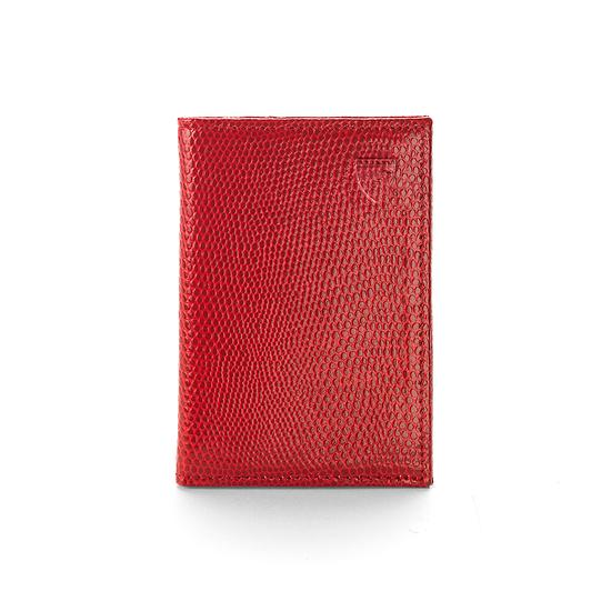 Double Fold Credit Card Case in Berry Lizard from Aspinal of London