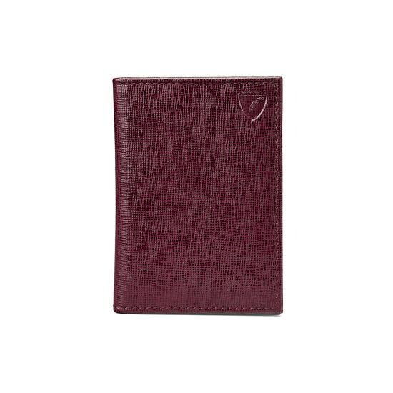 Double Fold Credit Card Case in Burgundy Saffiano from Aspinal of London