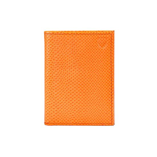 Double Fold Credit Card Case in Orange Lizard from Aspinal of London