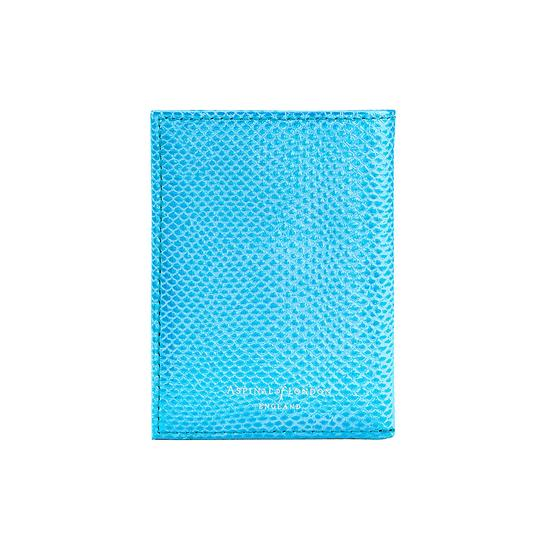 Double Fold Credit Card Case in Aquamarine Lizard from Aspinal of London