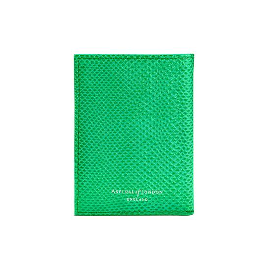 Double Fold Credit Card Case in Grass Green Lizard from Aspinal of London