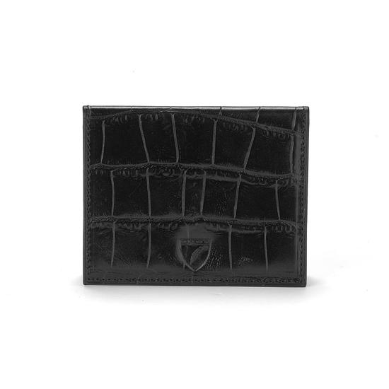 ID & Travel Card Case in Deep Shine Black Croc & Cobalt Suede from Aspinal of London