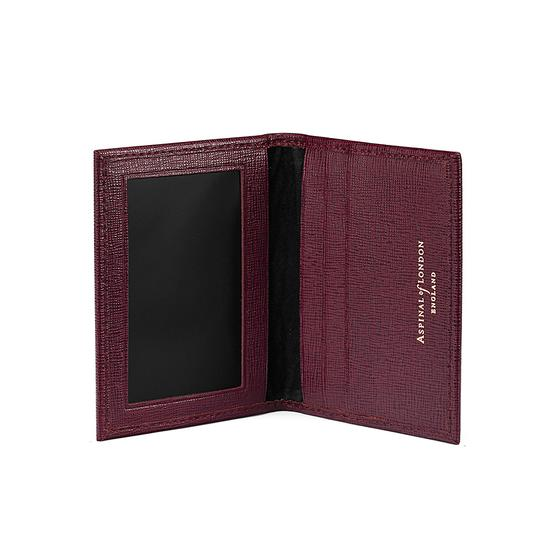ID & Travel Card Case in Burgundy Saffiano & Black Suede from Aspinal of London