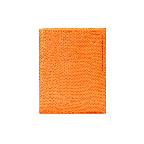 ID & Travel Card Case in Orange Lizard & Cream Suede from Aspinal of London
