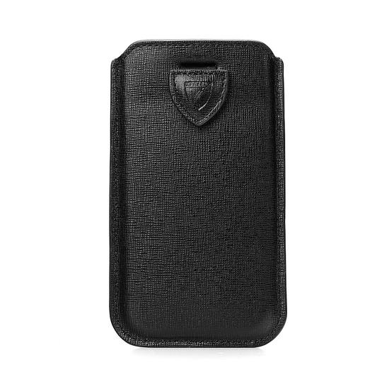 iPhone 6 / 7 Leather Sleeve in Black Saffiano & Black Suede from Aspinal of London