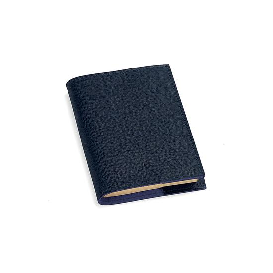 Refillable Pocket Notebook in Navy Saffiano from Aspinal of London