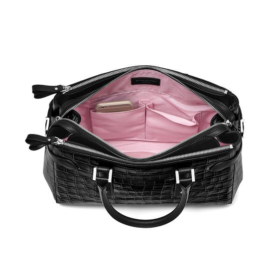 Brook Street Bag in Deep Shine Black Croc from Aspinal of London