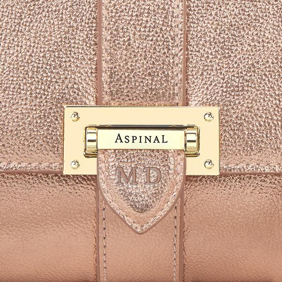 Small Lottie Bag in Rose Gold Metallic from Aspinal of London