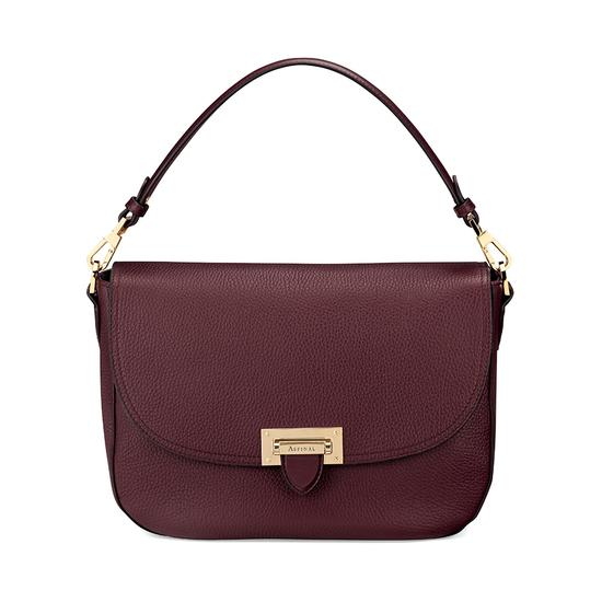 Slouchy Saddle Bag in Bordeaux Pebble from Aspinal of London