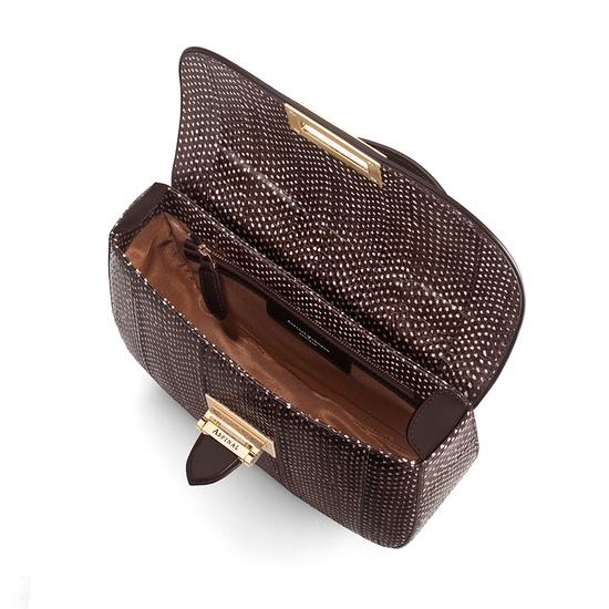 Letterbox Saddle Bag in Pheasant Brown Snake from Aspinal of London