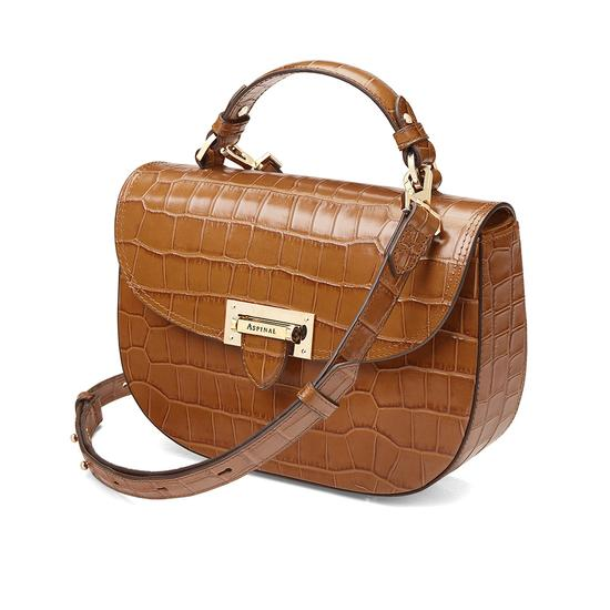 Letterbox Saddle Bag in Deep Shine Vintage Tan Croc from Aspinal of London