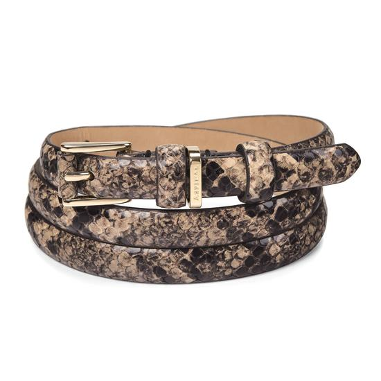 Ladies Skinny Westbourne Belt in Tan Snake from Aspinal of London