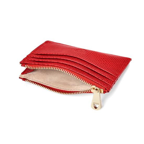Zip Top Coin & Card Case in Berry Lizard & Cream Suede from Aspinal of London