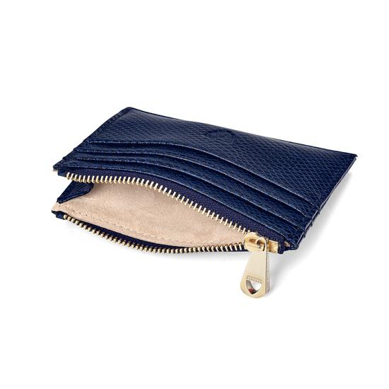 Zip Top Coin & Card Case in Midnight Blue Lizard & Cream Suede from Aspinal of London