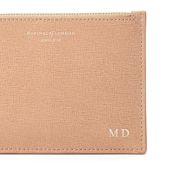 Small Essential Flat Pouch in Deer Saffiano from Aspinal of London