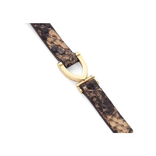 Stirrup Bracelet in Tan Snake from Aspinal of London