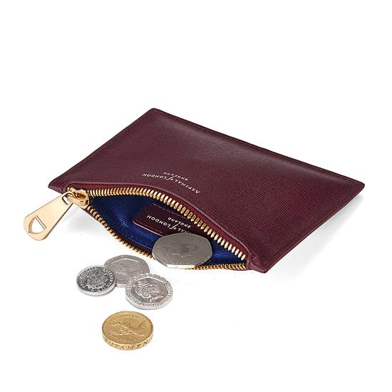 Small Essential Flat Pouch in Burgundy Saffiano from Aspinal of London