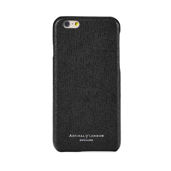 iPhone 6 Leather Cover in Black Saffiano & Black Suede from Aspinal of London